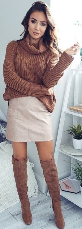 #fall #outfits / Brown Knitted Long Sleeve - Beige Skirt