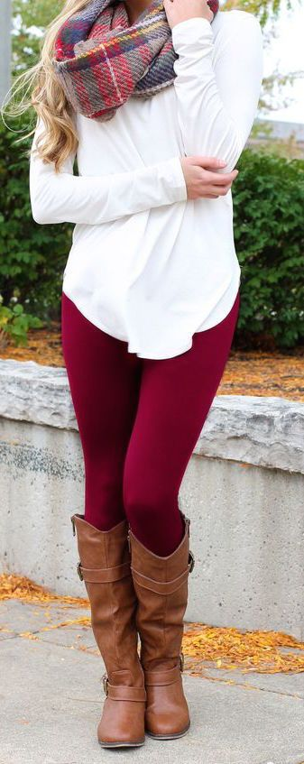 #fall #outfits / Plaid Scarf - Red Leggins