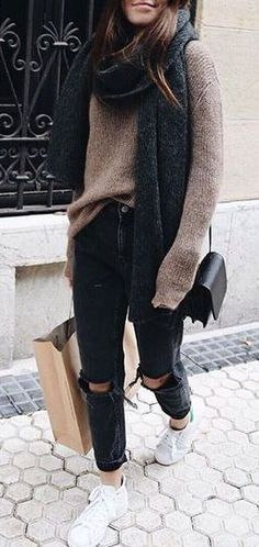 #fall #outfits / Beige Over Size Long Sleeve - Black Ripped Jeans