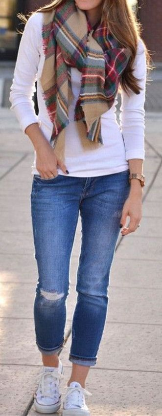 #fall #outfits / White Long Sleeve - Plaid Scarf