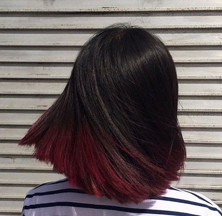 Burgundy Red Color Balayage