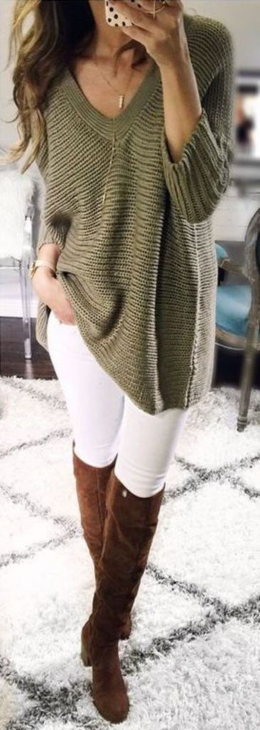 #fall #outfits / Green Tunic - Tall Boots