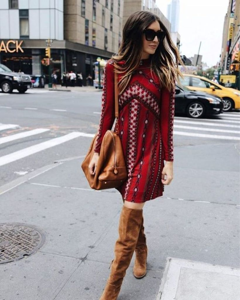 Printed-dress-and-over-the-knee-boots.-