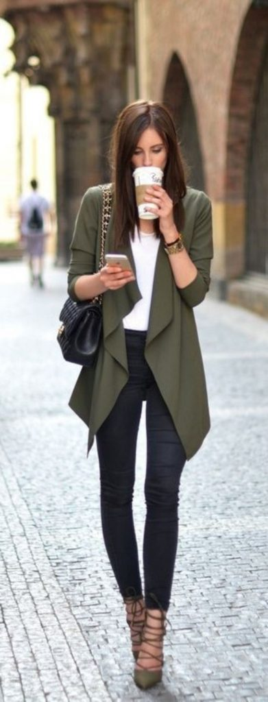 #fall #outfits / Green Olive Cardigan - Black Skinny Jeans
