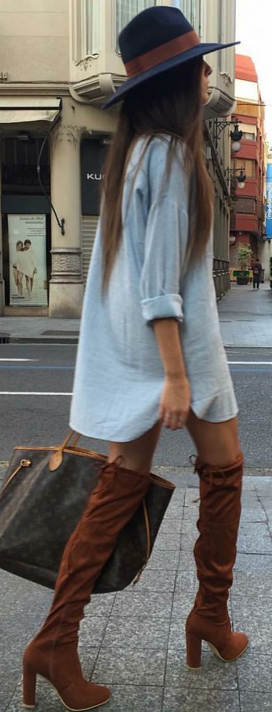 #fall #outfits / Tall Boots - Sky Blue Dress Shirt