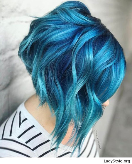 Hair Blue Color Short