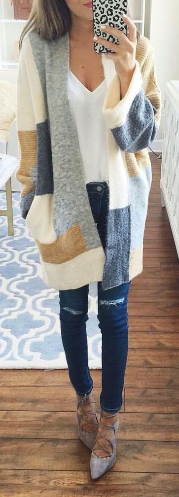 #fall #outfits / Plaid Cardigan - Silver Flats
