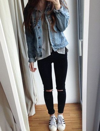 #fall #outfits / Denim Jacket - Black Skinny Jeans