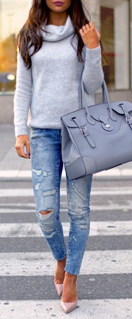 #fall #outfits / Grey Long Sleeve - High Heels
