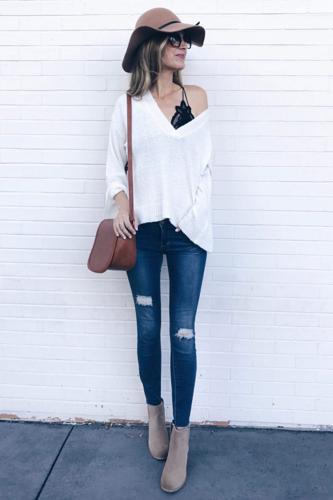 #fall #outfits / White Off Shoulder Tunic - Heel Booties