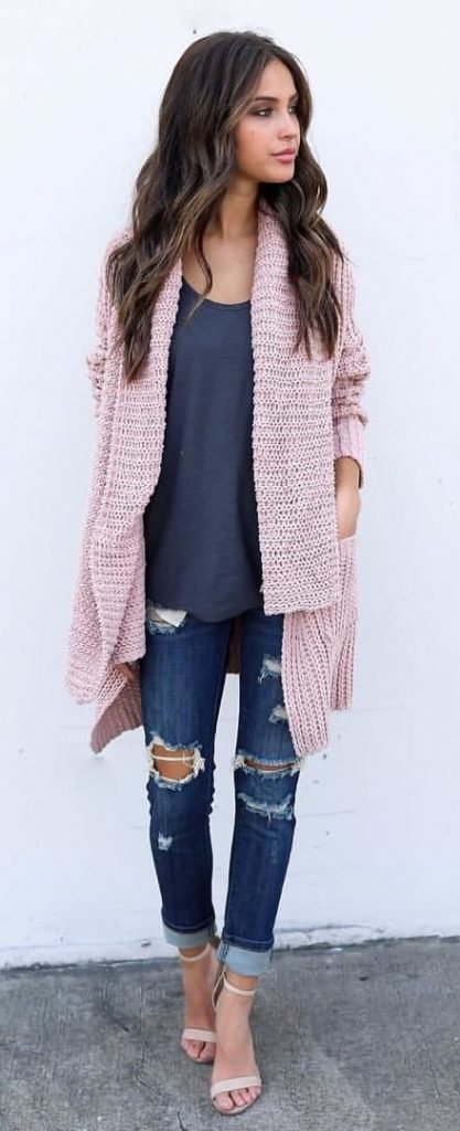 #fall #outfits / Peach Cardigan - Denim