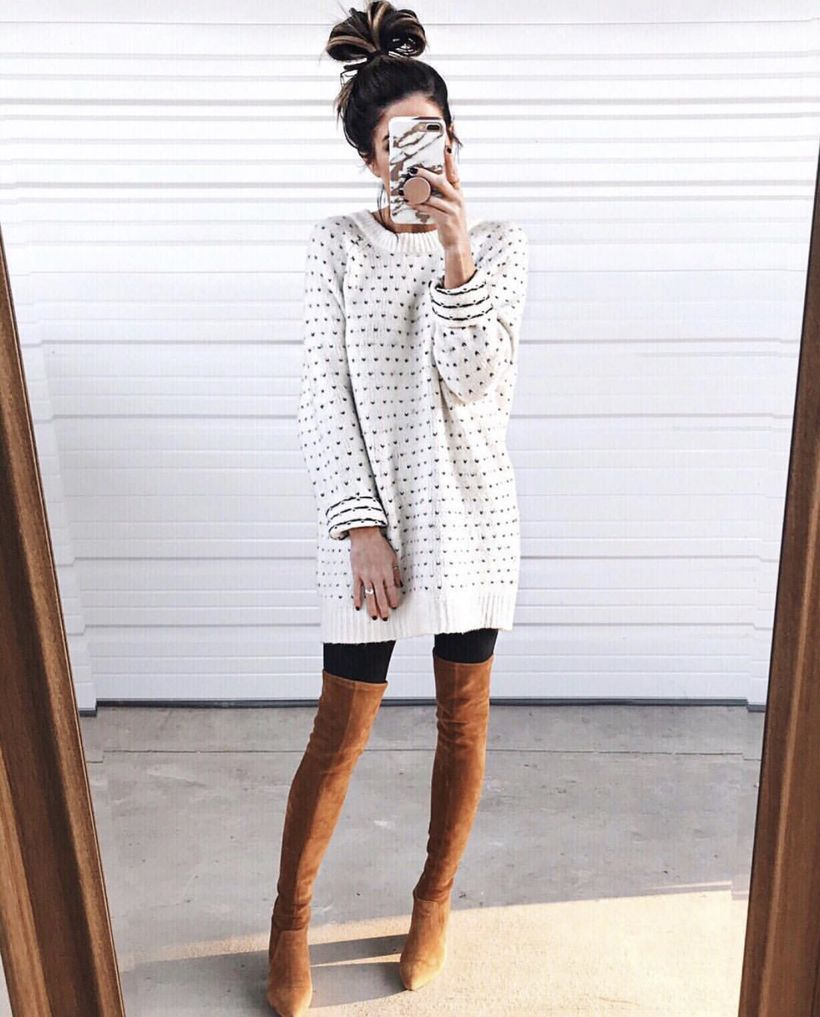 Polka-dot-long-sweater-with-combination-brown-knee-length-boot-and-black-legging