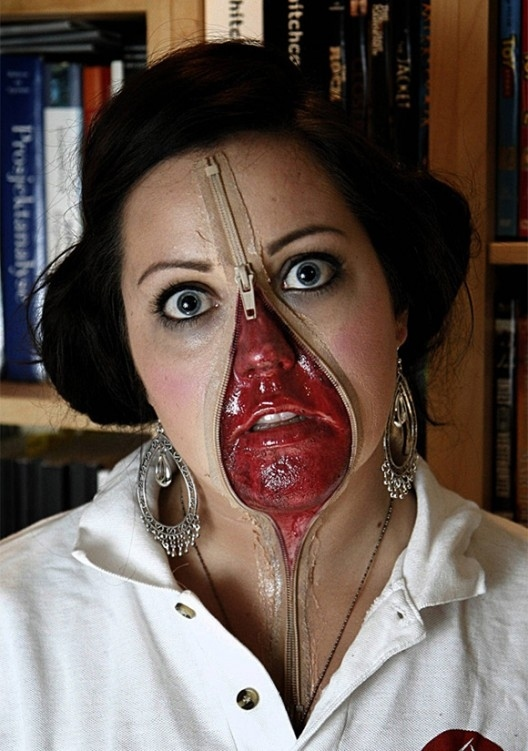 Zipper on Nose Nose Halloween Makeup