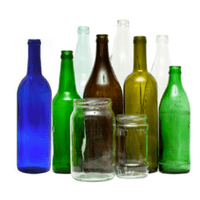 Other recyclable items include colored glass bottles and jars.