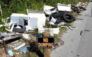 Illegal dumping of appliances and tires