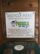 Awareness signs help promote the use of the recycling equipment available.