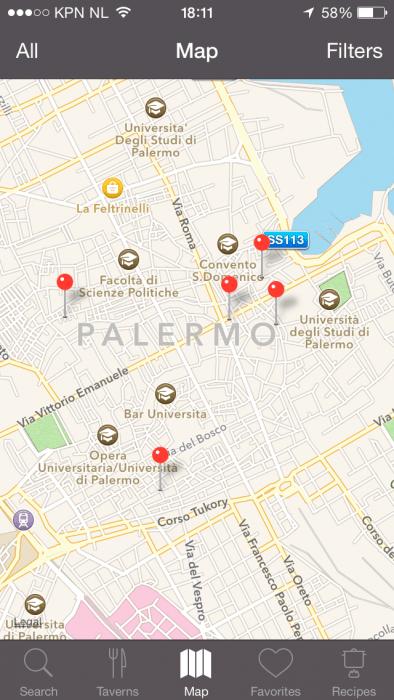 Slow Food app: zoeken op kaart