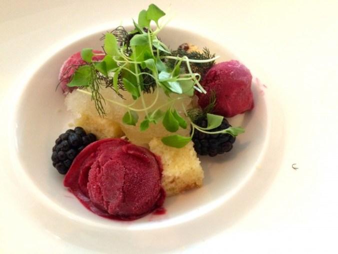 Lekker eten in Groningen: het dessert bij Piloersemaborg met granité van verveine met bramensorbet en hangop