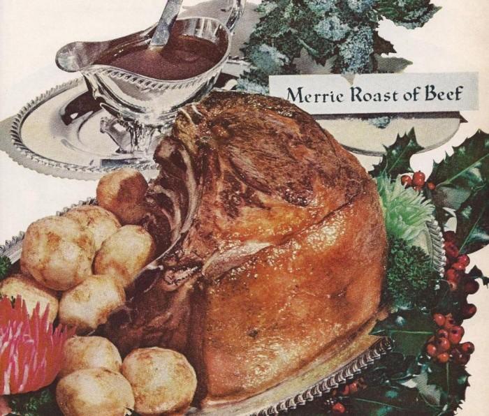 Op ons kerstmenu: merrie roast of beef