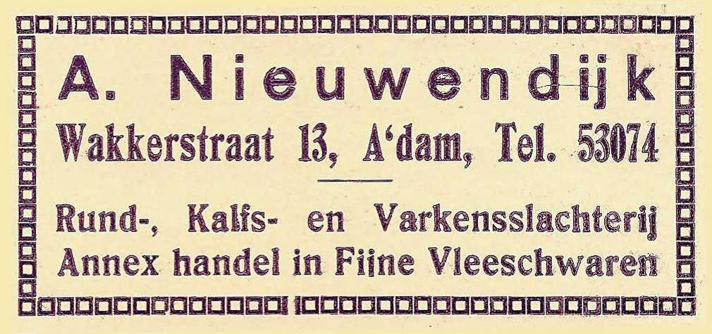 Advertentie Rund-, kalfs- en varkensslachterij Anton Nieuwendijk