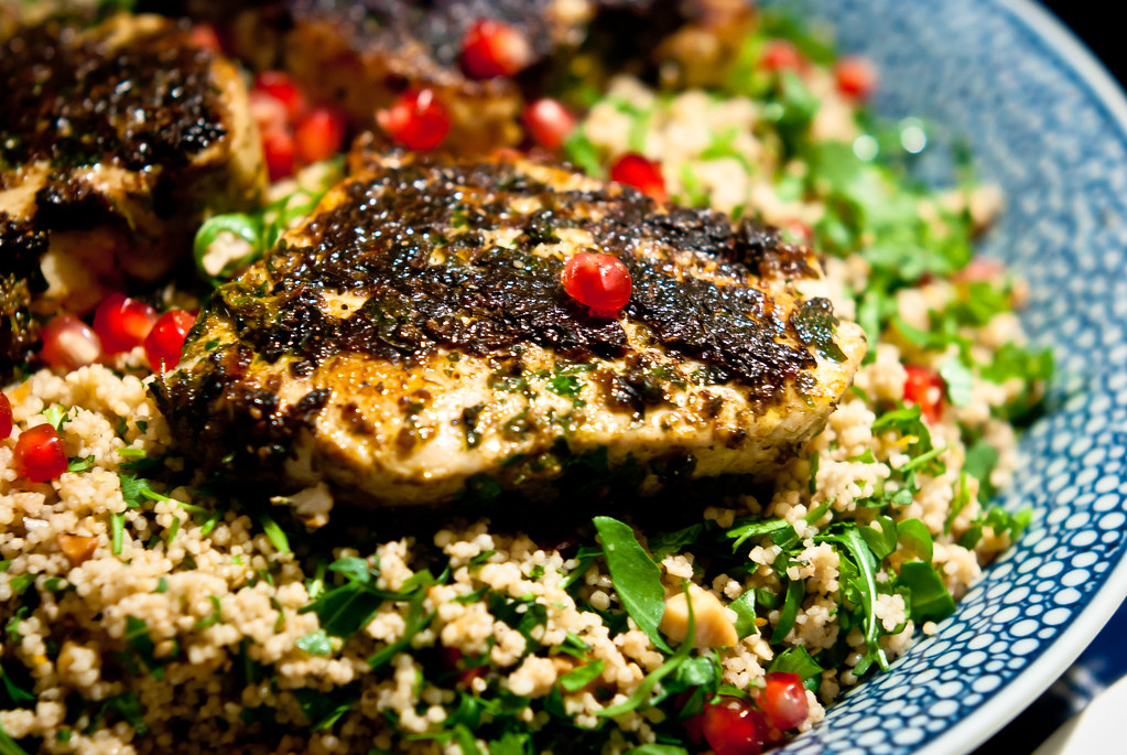 Albacore tonijn in chermoula
