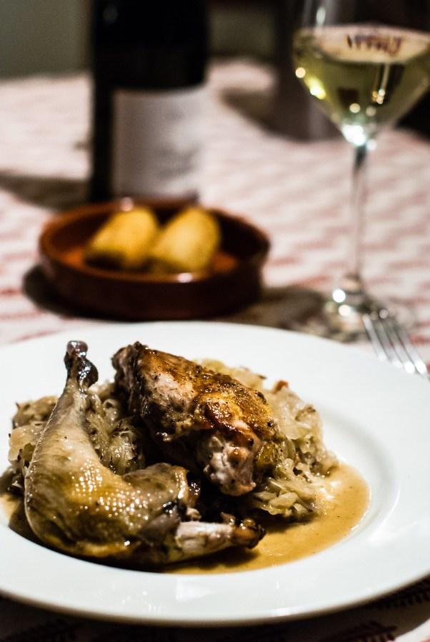 Gekonfijte fazant met zuurkool en aardappelkroketten met truffel