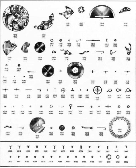 Omega 1010 watch parts