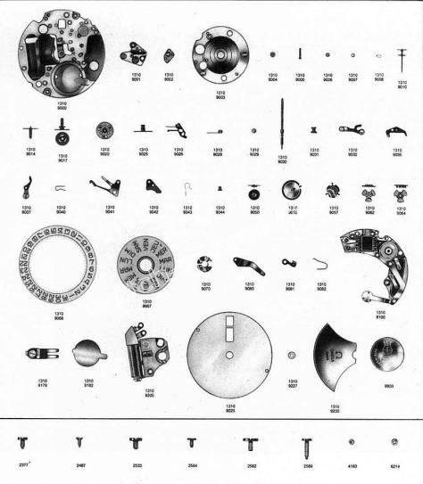 Omega 1310 watch parts