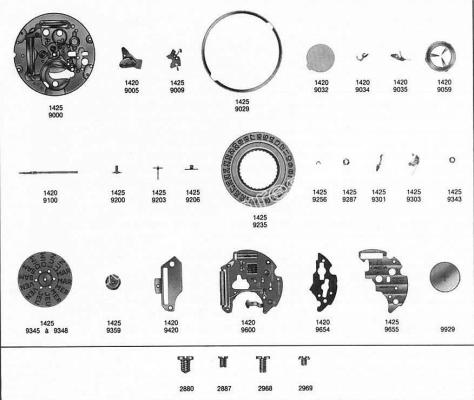 Omega 1425 watch date parts