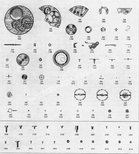 Omega 267 watch parts