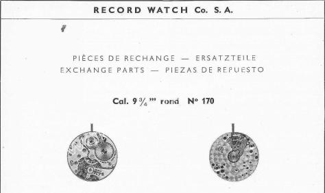 Record 170 watch movements