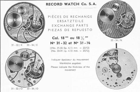 Record 31.32 watch movements