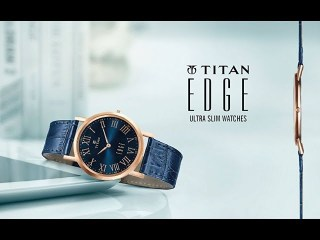 NEW TITAN EDGE COLLECTION SLIM WATCHES FOR MEN BLUE DIAL BLUE LEATHER STRAP