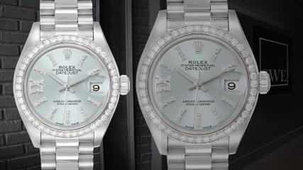 Rolex President Ice Blue Dial Platinum Diamond Ladies Watch 279136 | SwissWatchExpo