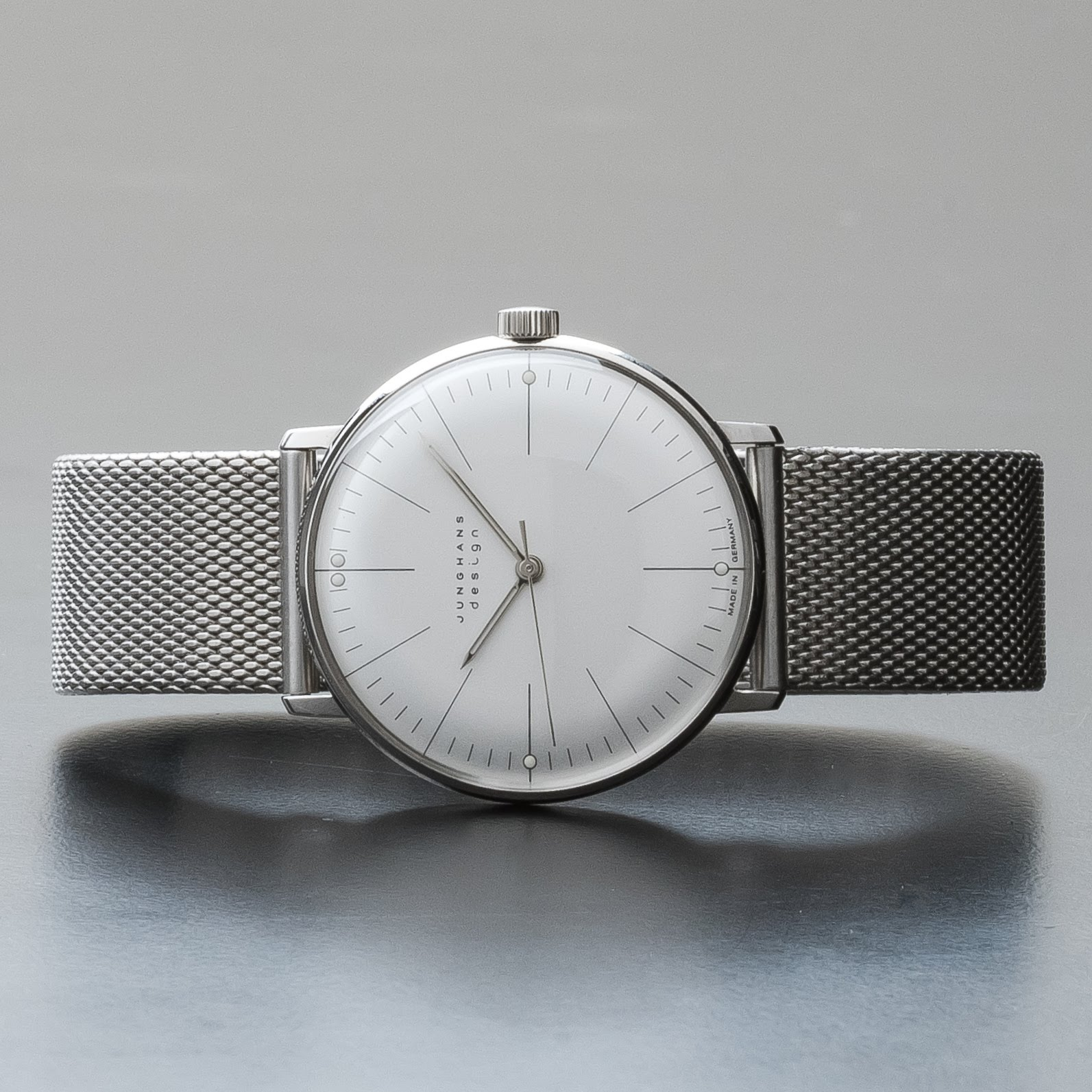Junghans Max Bill Hand Winding Mechanical Matte Silver Dial Watch 027/3004.44