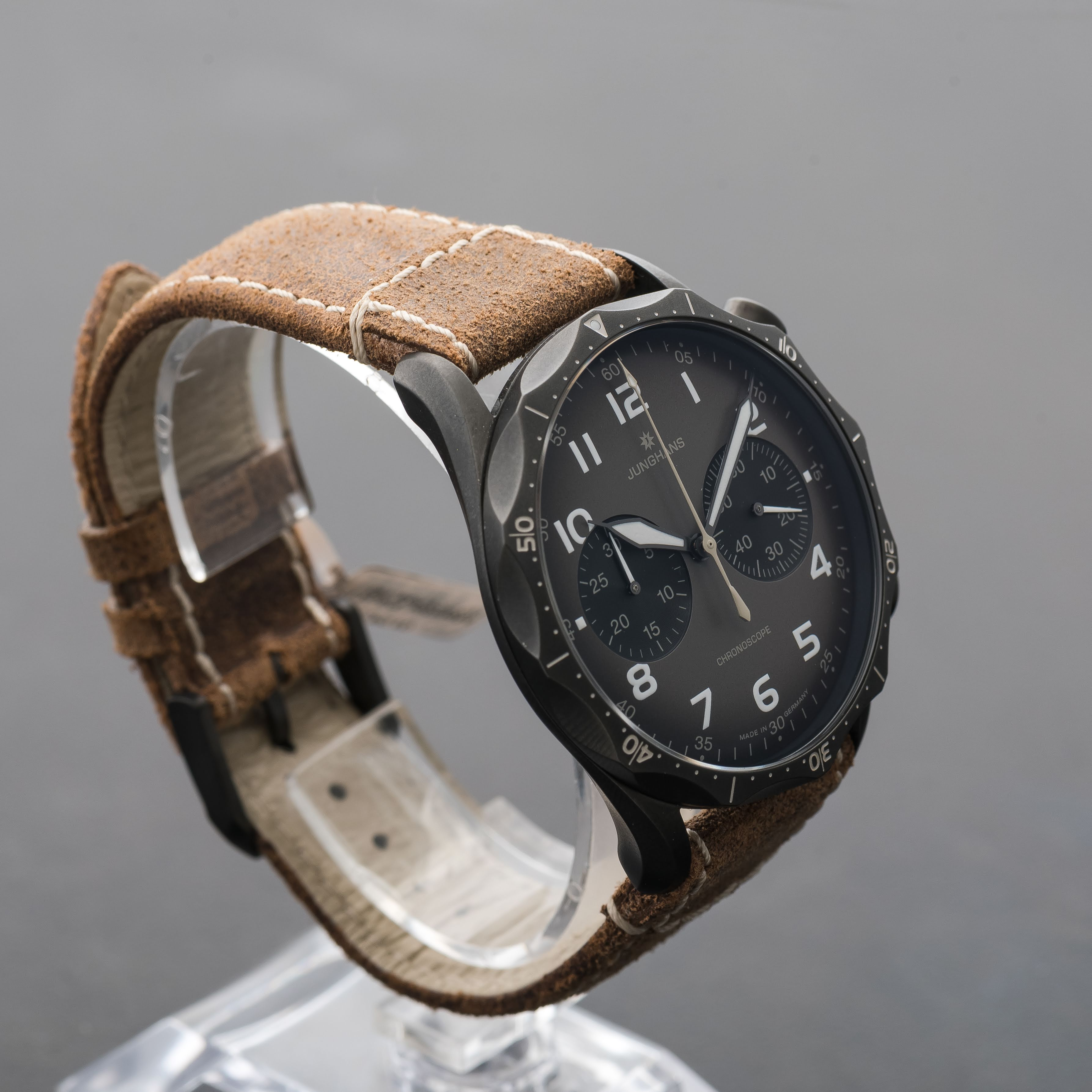 Junghans Meister Pilot Automatic Chronograph DLC Brown strap 027/3794.00