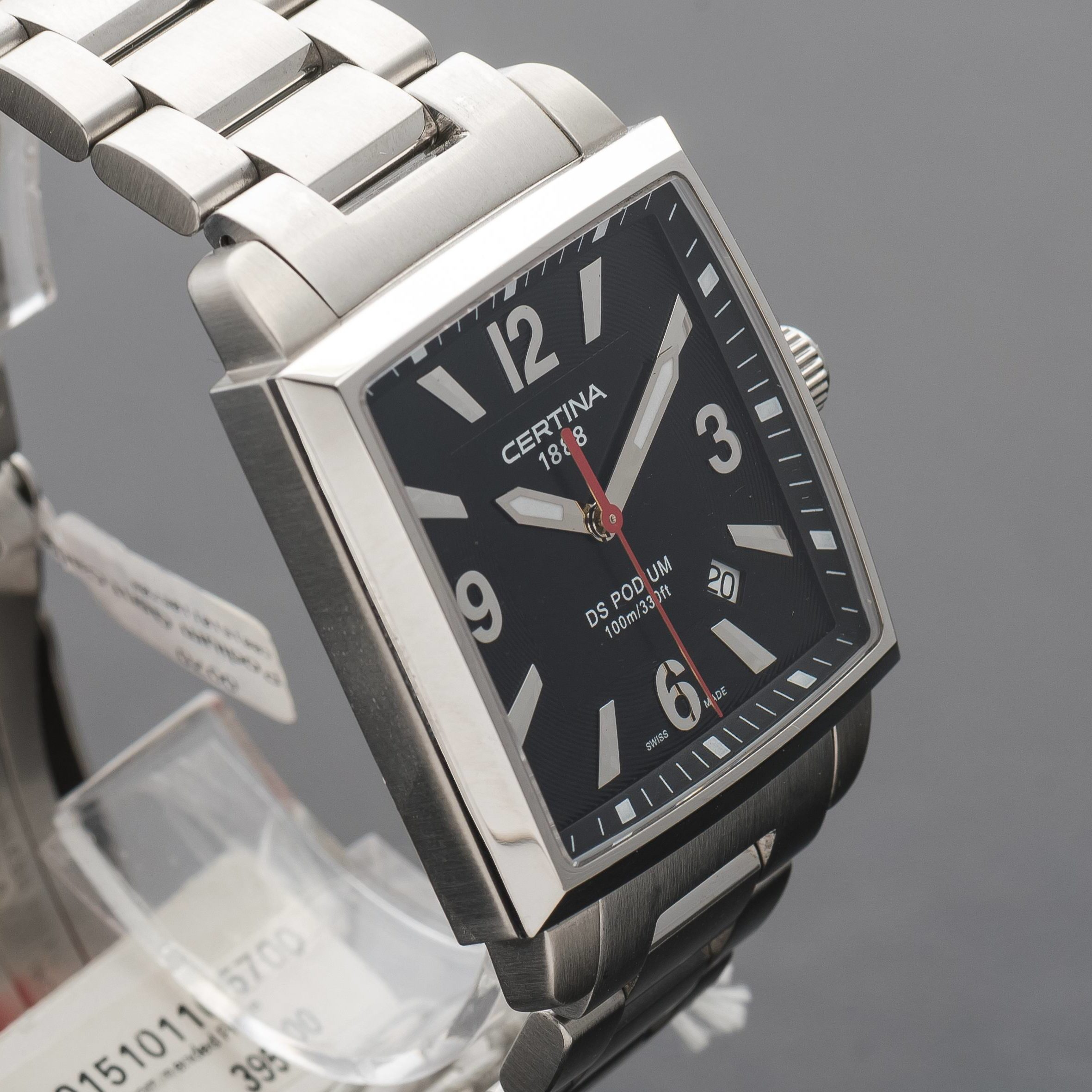 Certina DS Podium Square Date Black Dial Stainless Steel C0015101105700