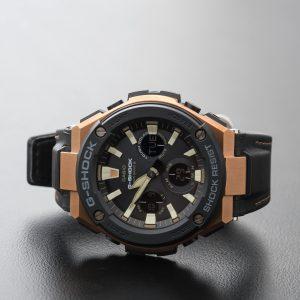 Casio G-Steel Steel Solar Radio Controlled Leather Strap Watch GST-W120l-1AER