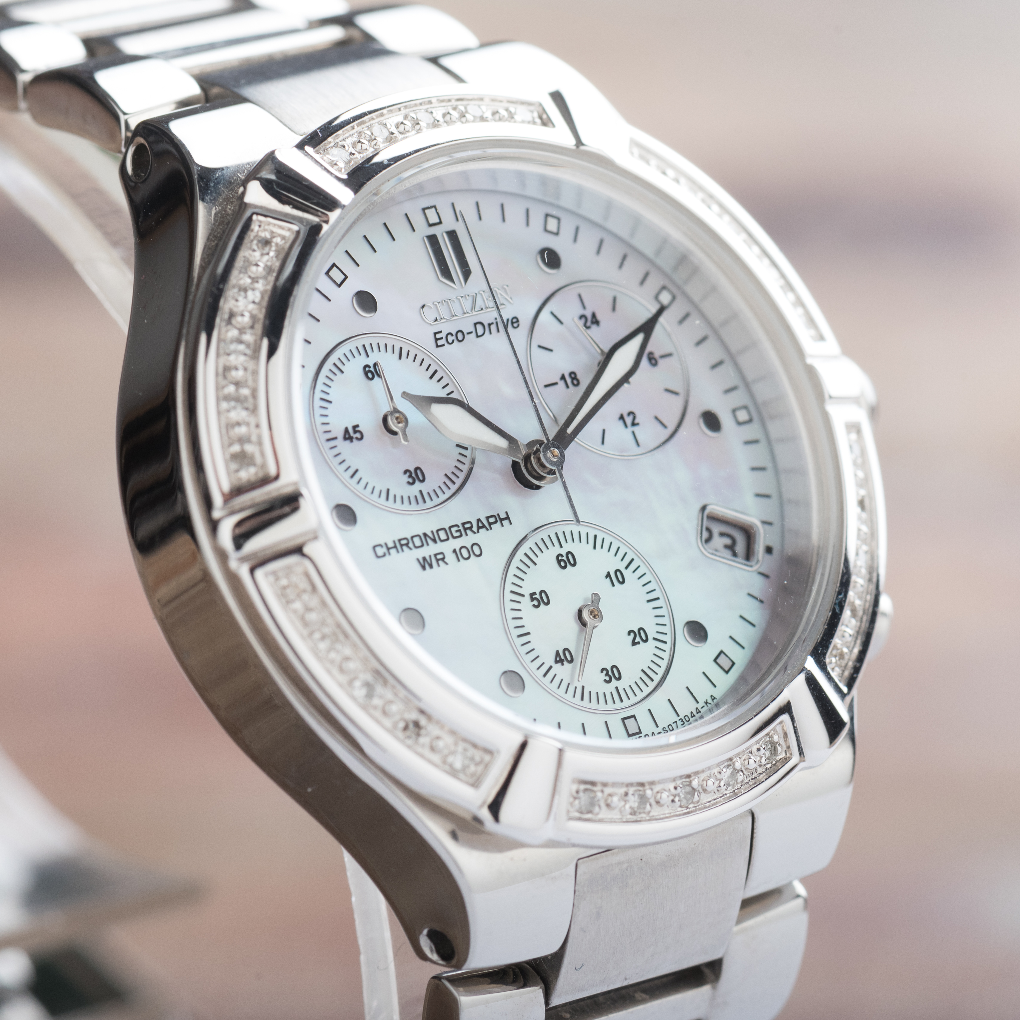 Citizen Ladies Silhouette Diamond Sport Chronograph Eco-Drive Date FB1020-52D