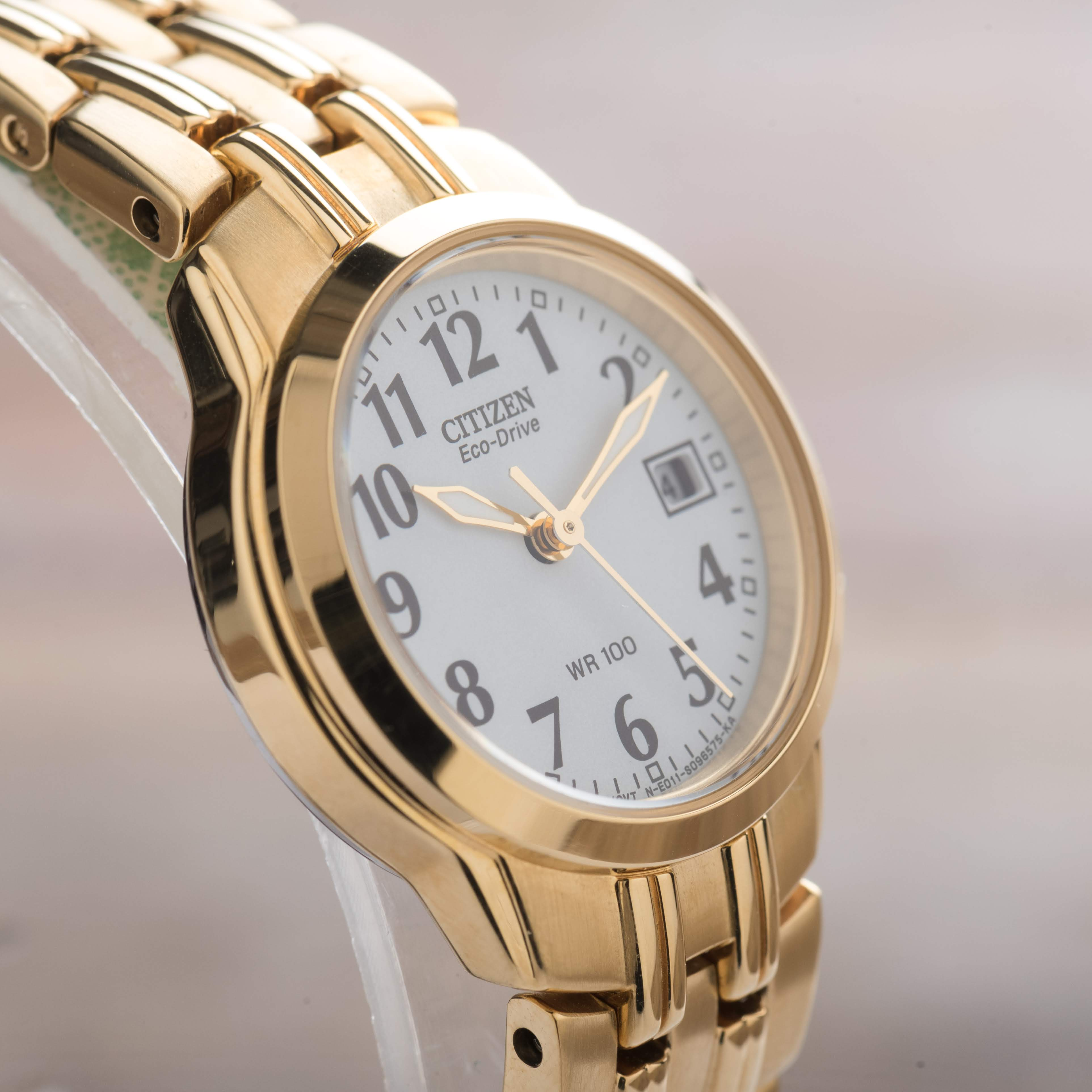 Citizen Women's Eco-Drive Silhouette Sport Date Gold Tone Watch EW1542-59A