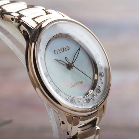 Citizen Circle of Time Eco Drive Rose Gold Tone Diamonds Ladies EM0382-86D