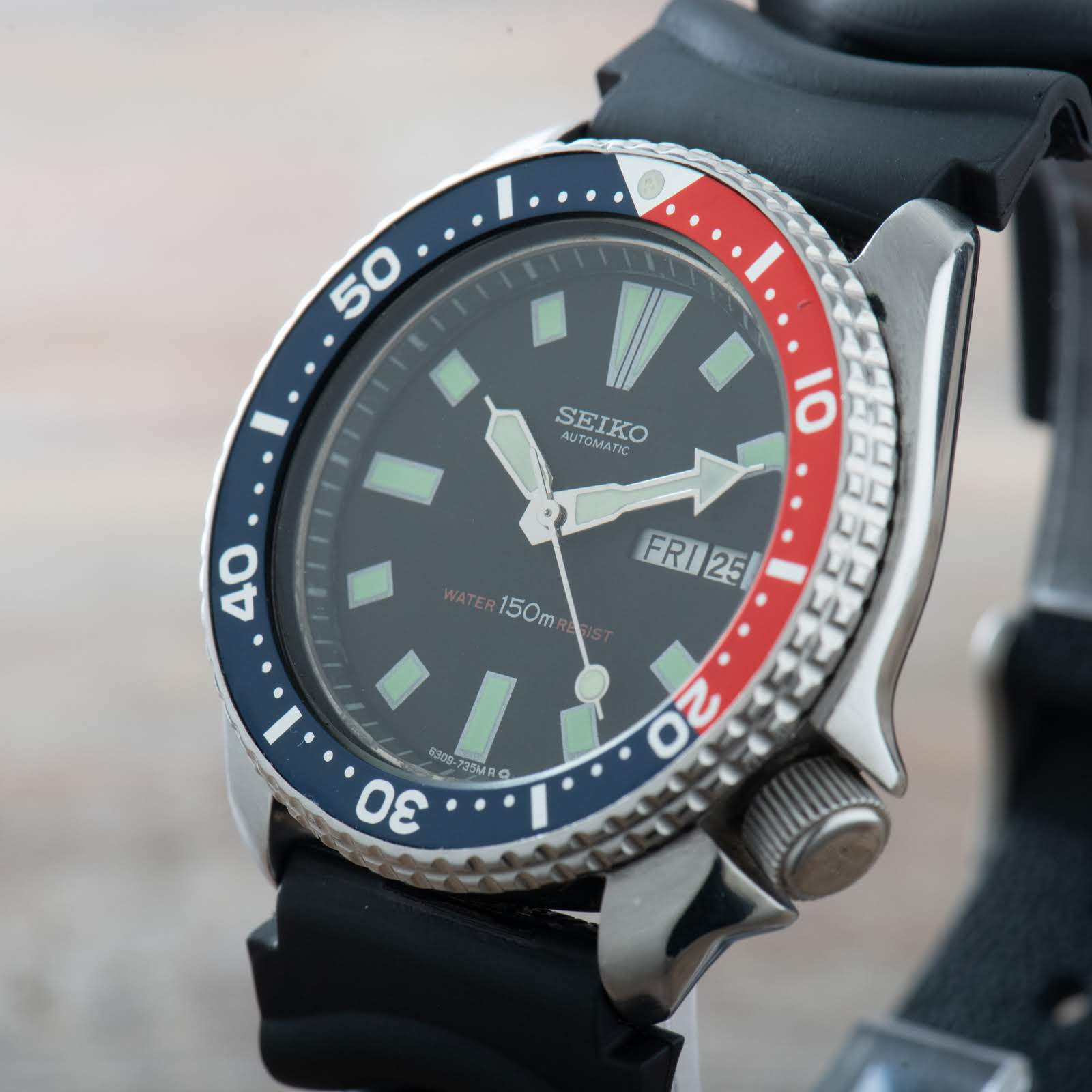 Seiko 6309-729A Pepsi Divers Watch Men Vintage Day Date150M Automatic S/S #1874