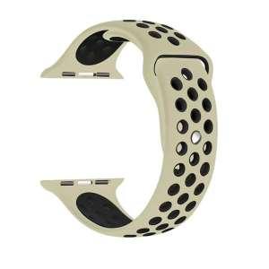 Rubberen sport bandje voor de Apple Watch Offwhite Zwart