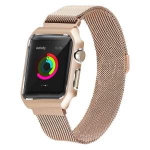 2 in 1 vervangend Apple Watch Band Milanese Loop goud en cover roestvrij staal vervangende band-006