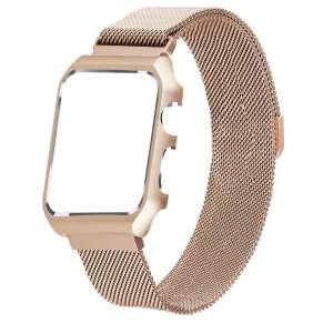 2 in 1 vervangend Apple Watch Band Milanese Loop goud en cover roestvrij staal vervangende band-010