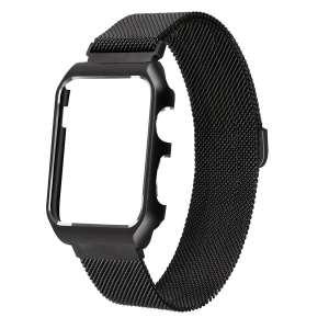 2 in 1 vervangend Apple Watch Band Milanese Loop zwart en cover roestvrij staal vervangende band voor iWatch 38mm-006