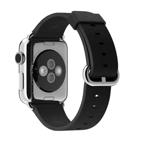 Luxe Classic Lederen armband voor de Apple Watch (38mm) zwart-004