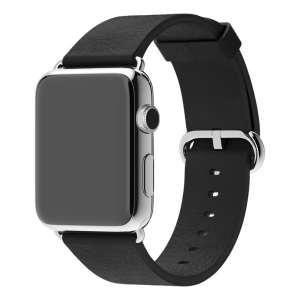 Luxe Classic Lederen armband voor de Apple Watch (38mm) zwart