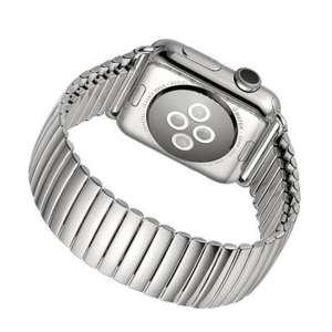 Rvs Elastische Horlogeband Band Armband met Link Adapter voor Apple Watch zilver kleurig-006