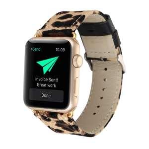 Leopard lederen bandje met klassieke gesp voor Apple Watch 42mm-004